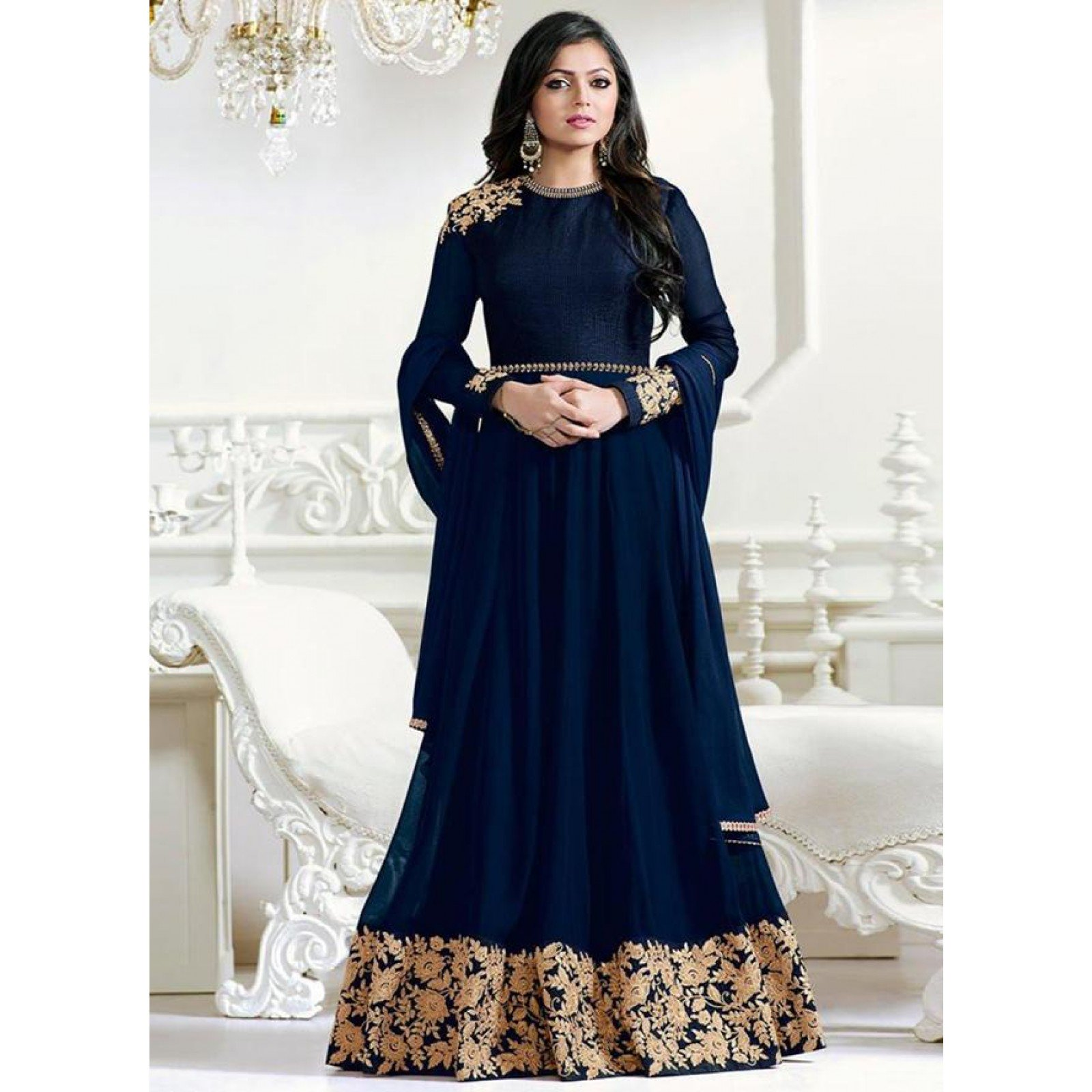 Embroidered Semi-Stitched Salwar Suit Dupatta Material
