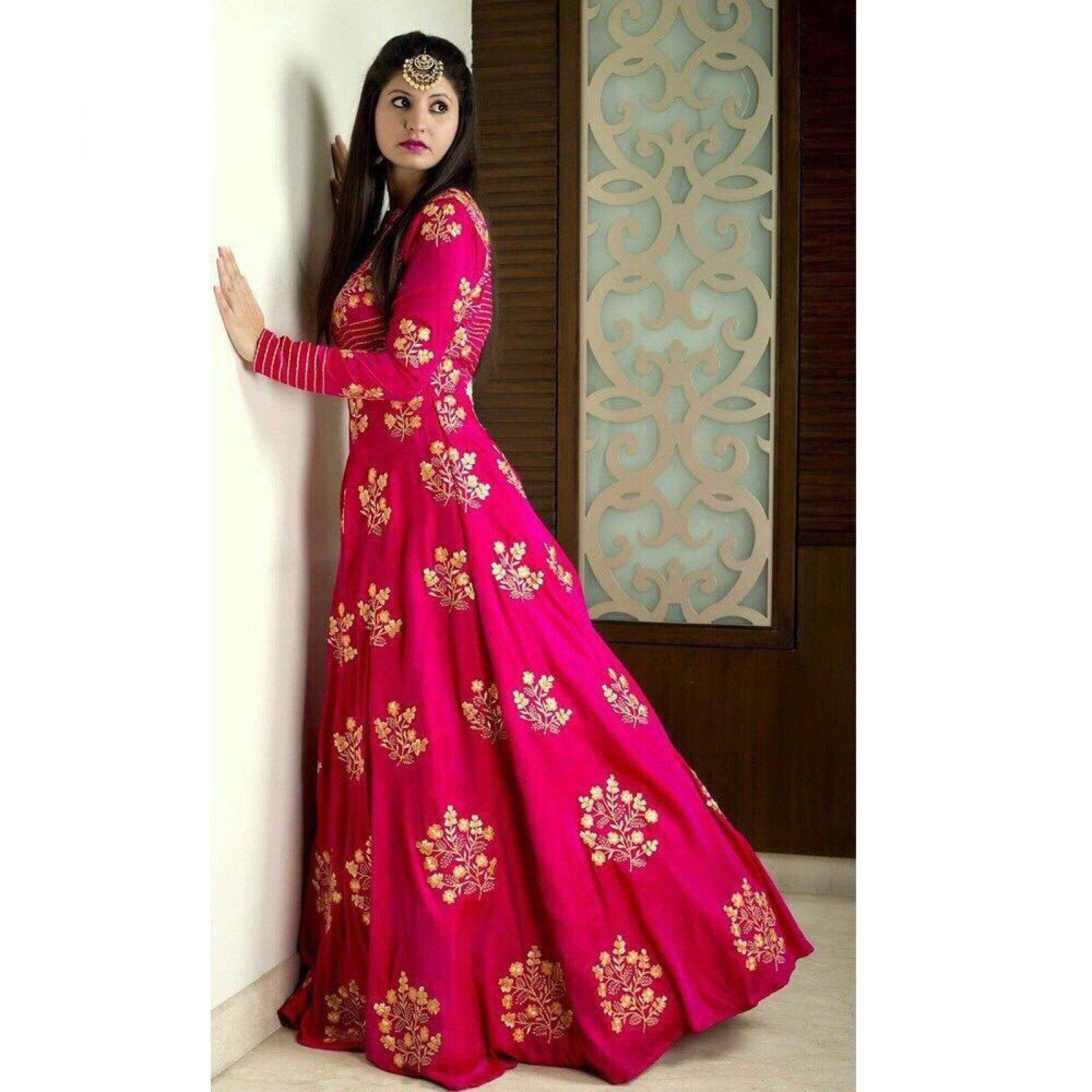 Tapeta Silk Semi Stitched Anarkali Suit Dupatta Material