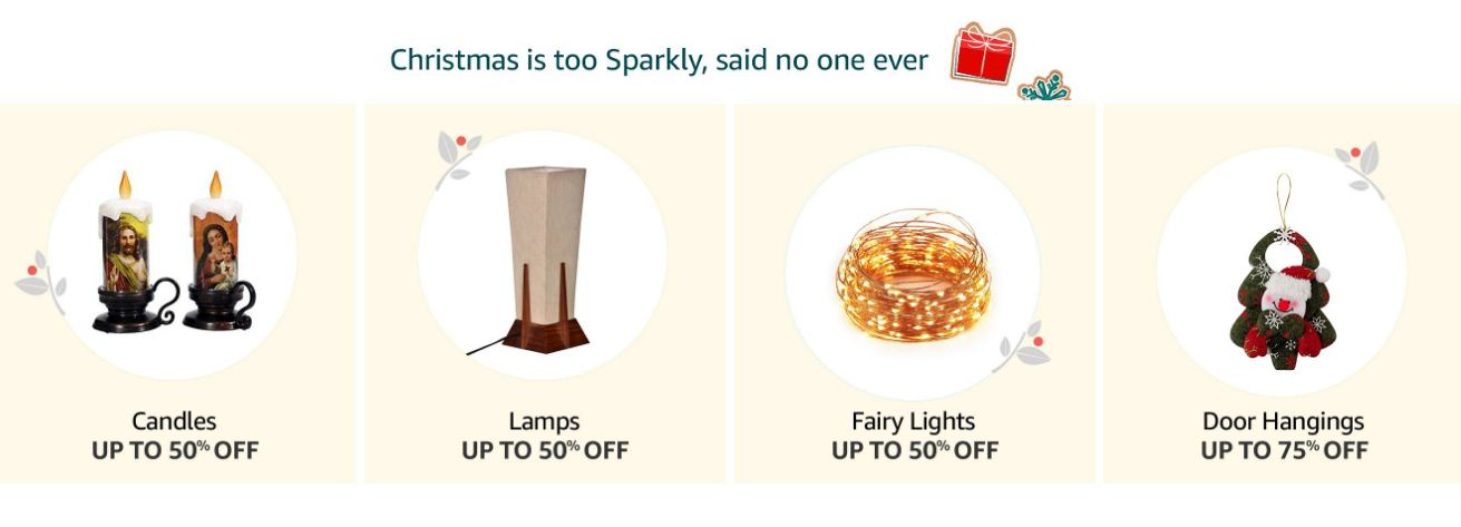 Amazon Christmas Sparkly Candles, Lamps, Fairy Lights Up to 50% Off