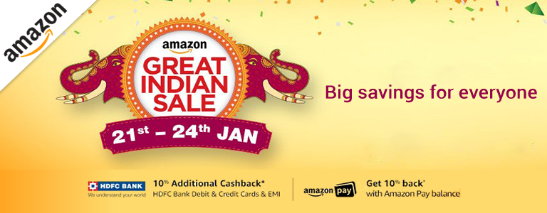 Amazon Great Indian Sale From 21st to 24th January 2018