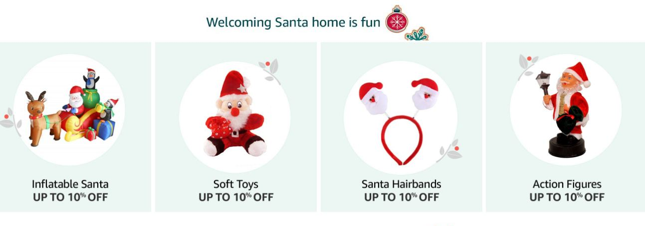 Amazon Christmas Santa hairbands action figures Up to 10% Off.