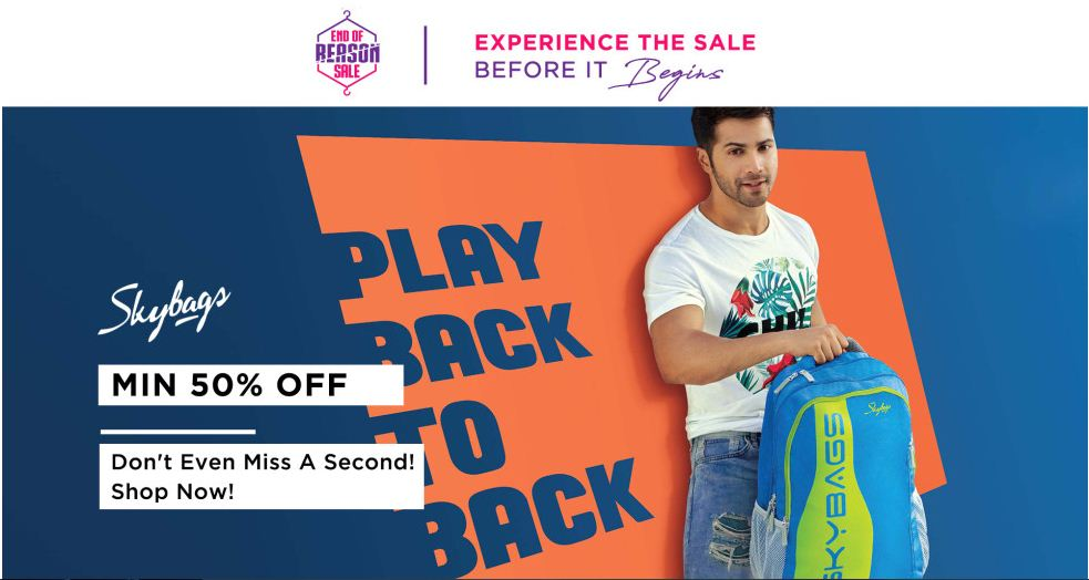 Myntra Offers Sale On Skybags Min 50% Off