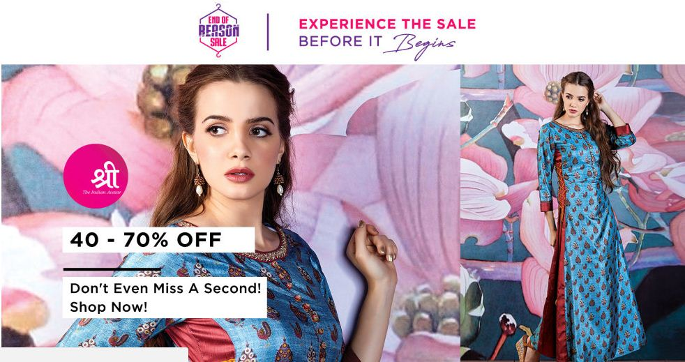 Myntra Sale on Shree Saree 40 - 70% Off.