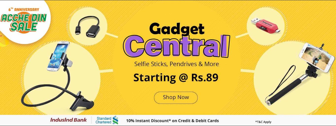 Shopclues Achhe Din Sale Gadget Central Starting at Rs 89