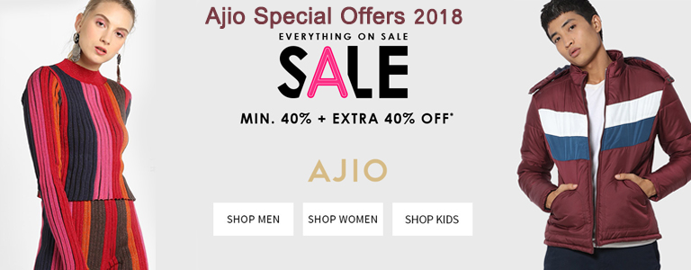 Ajio Special Offers 2018 for Fashion Clothing, Footwear and Accessories