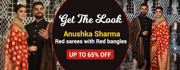 Anushka Sharma Wedding Red BANARASI Silk Sarees and Bangles Online Upto 65% Off