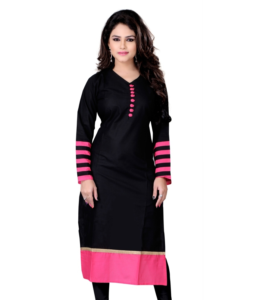 Black Coloured Foil Contempory Print Straight Party Wear Crepe Kurta