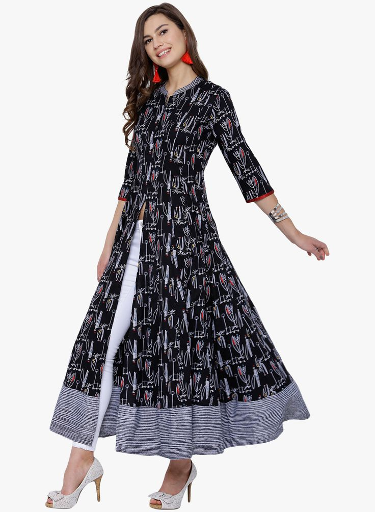 Black Printed Cotton Front Slit A-Line Kurta