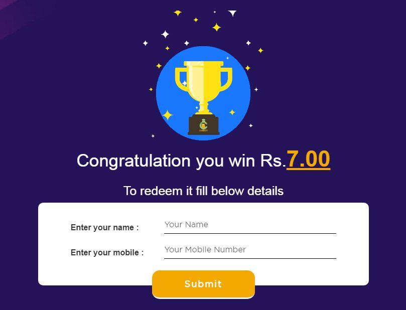 Congratulation You have Won Cashback
