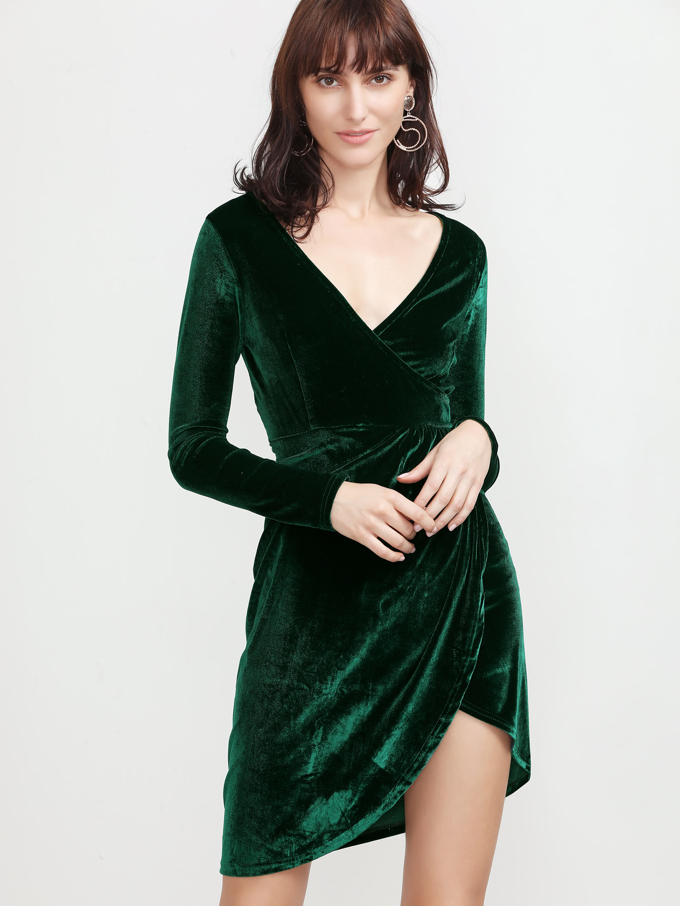 Dark Green V Neck Wrap Velvet Dress online