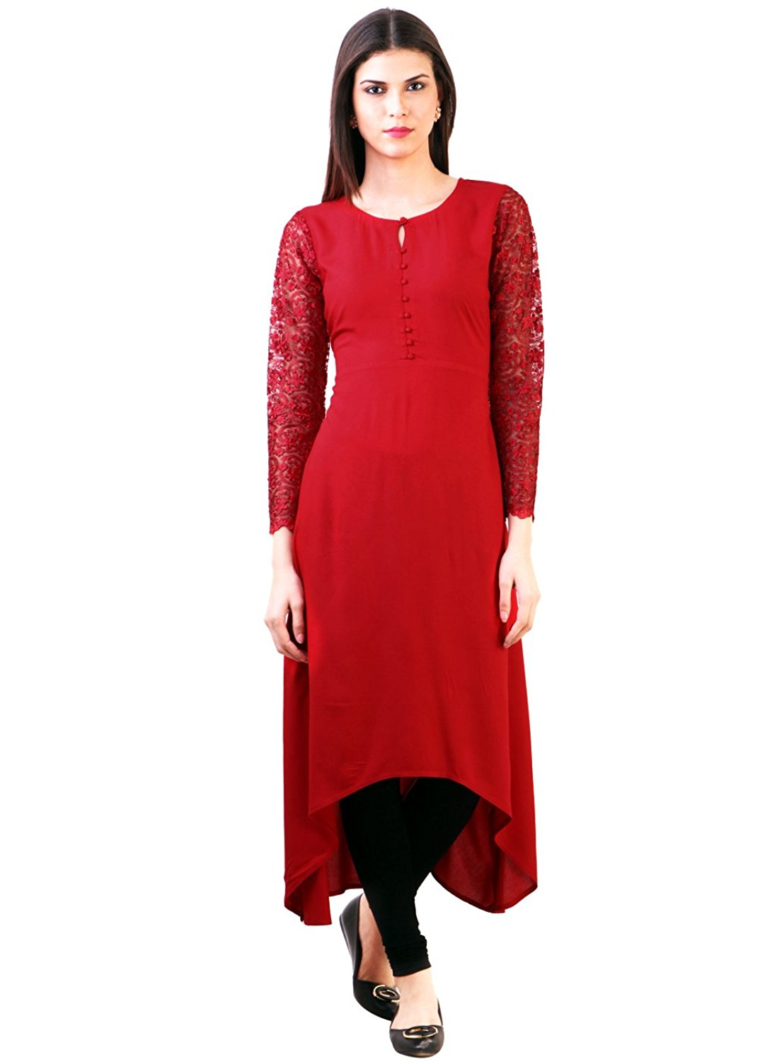 Desi Knots Black-Floral-3-Slash-4th-Sleeve-Kurti