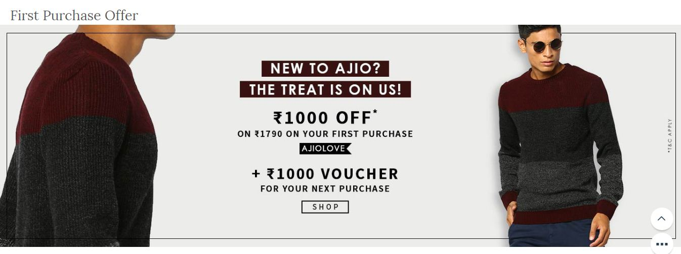 First Purchase Offers On Ajio