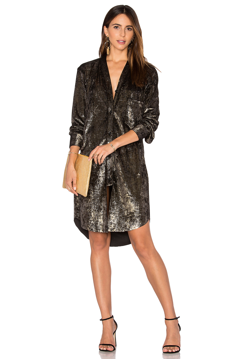 Frankie Velvet Shirt Dress Gold Women