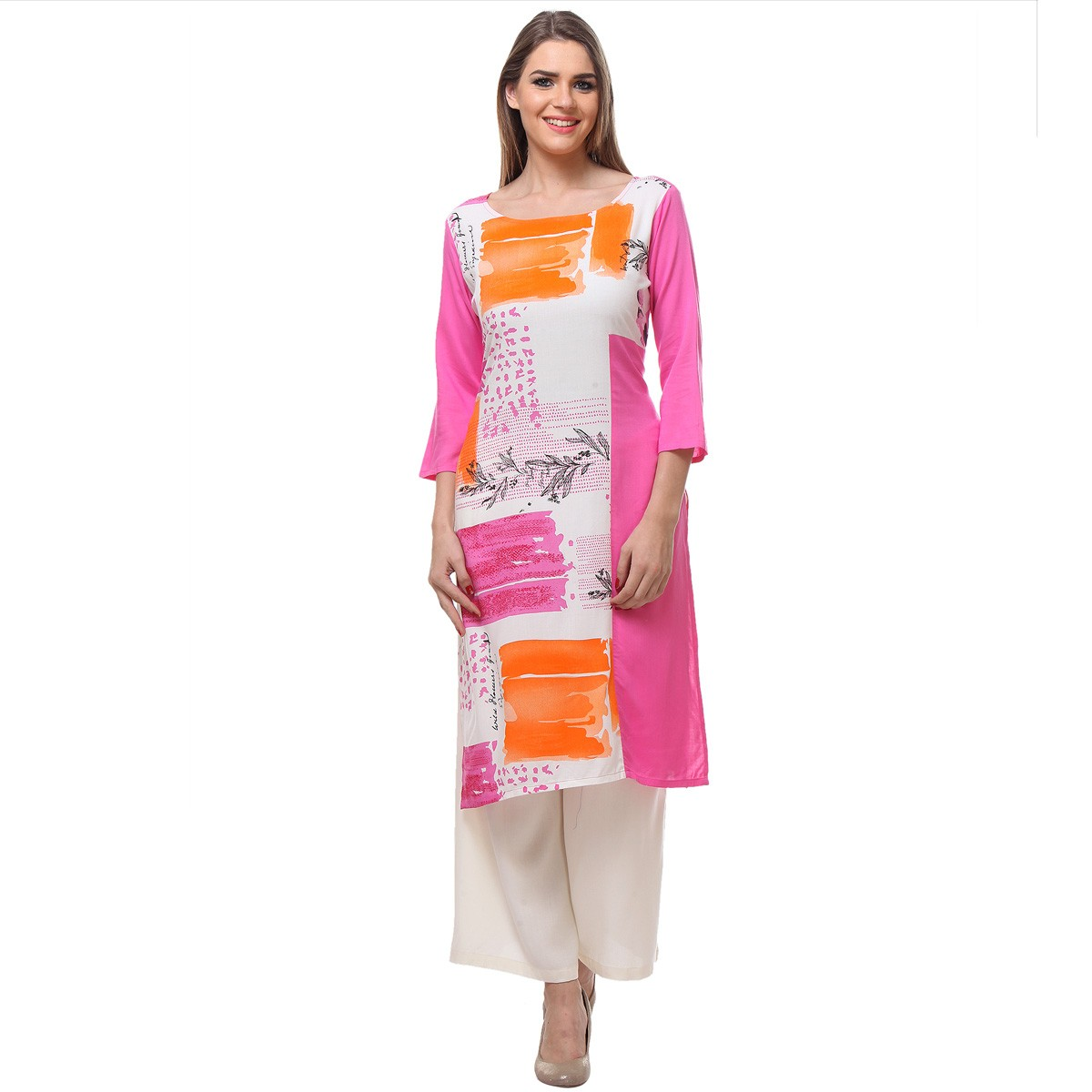 Light Pink Ethnic Print Straight Stitched Kurtis