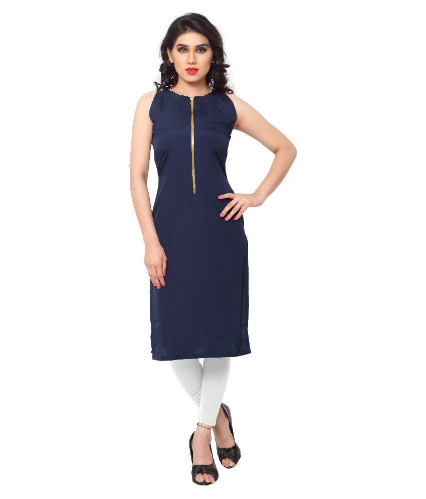 Navy Crepe Straight Stitched Kurti