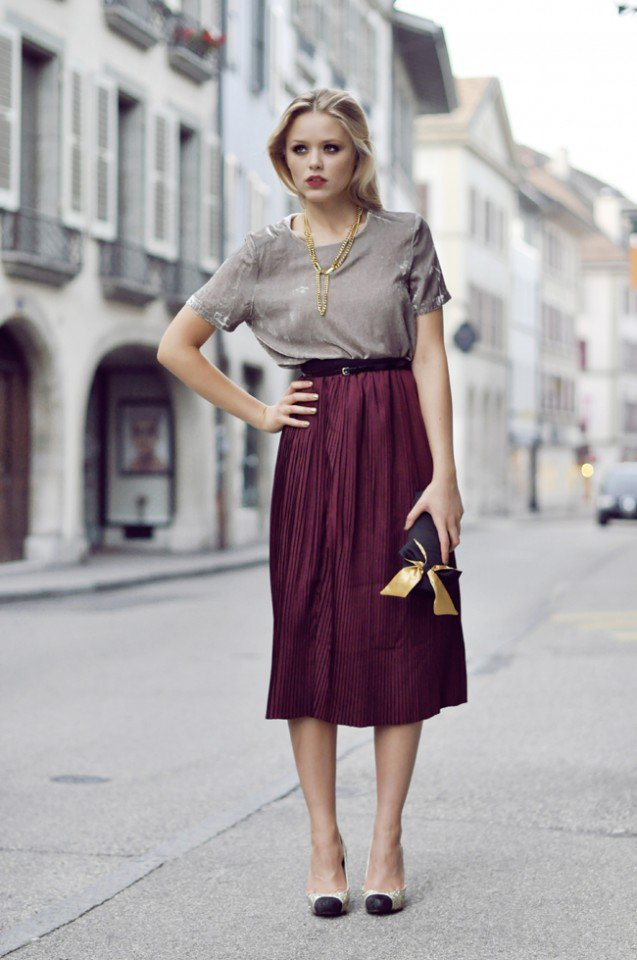 Pretty Velvet Top with Maroon Midi Skirt