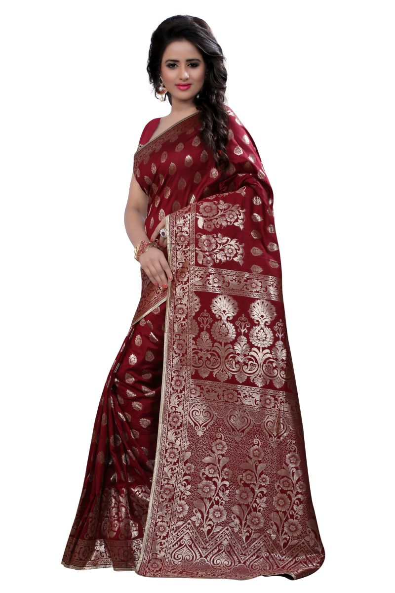 Red Art Silk Banarasi Saree