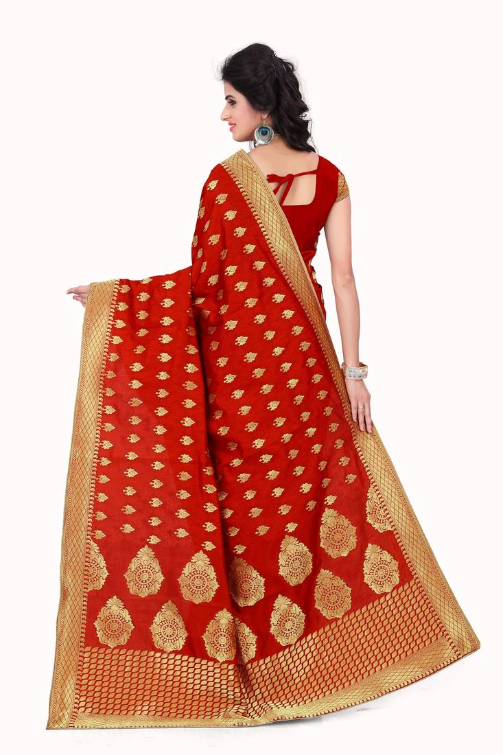 Red Printed Banarasi silk Sarees