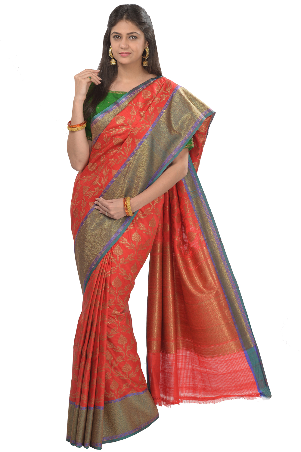 Red Silk Blend Banarasi Saree