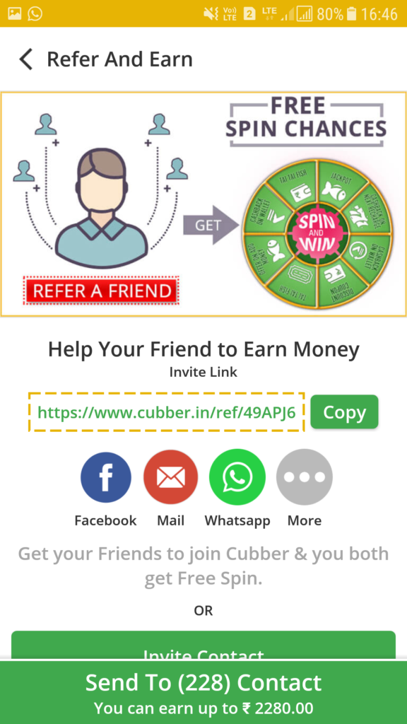 Refer Your Friends and Get Chance To Win Cashback on Cubber