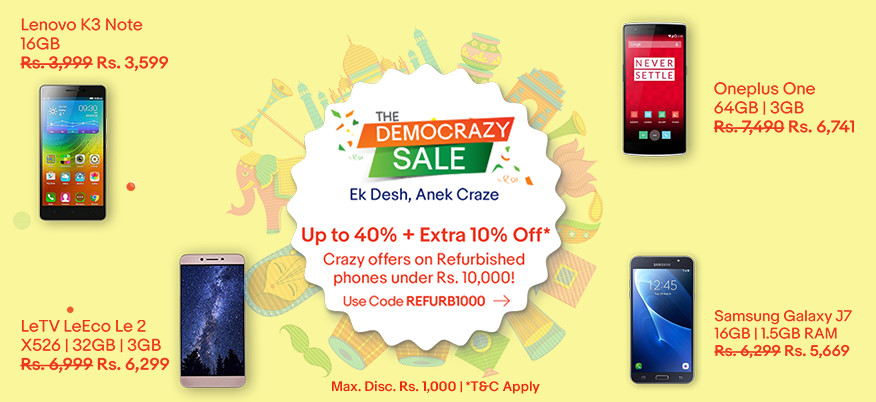 Ebay  The Democrazy Sale Up to 40% Off On Mobile Phones
