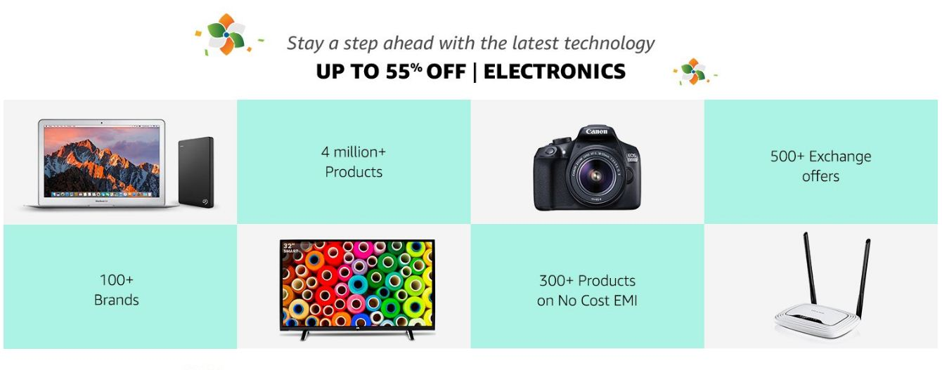 Amazon Up to 55% Off On Electronics Products