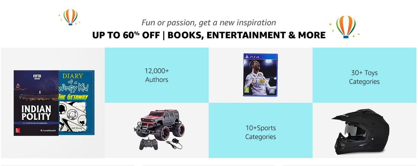 Amazon Up to 60% Off On Book Entertainment and More