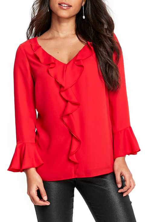 Wallis Bell Sleeve Ruffle Blouse