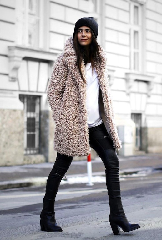 Winter Style Teddy Coat Blush Shaggy Coat