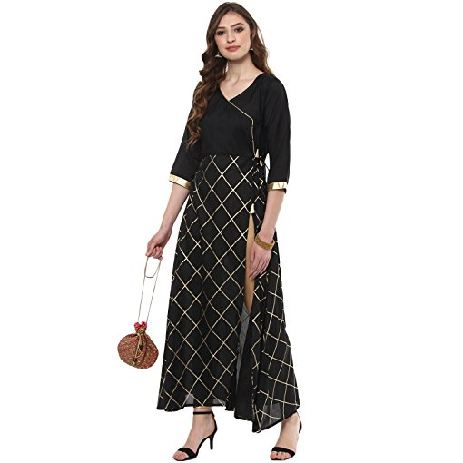 Ziyaa Women's Black Coloured Foil Ethnic Printed Aline Crepe Occasion Wear Kurta